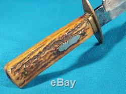 Early J. RUSSELL GREEN RIVER WORKS Stag Handle HUNTING KNIFE