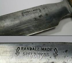 Extremely Rare Springfield, Mass Randall No. 1 Fighting Knife With Sheath, Stone