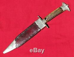 Fine 1833-45 Crown Pommel Clip Blade Bowie Knife Stamped American Hunting Knife