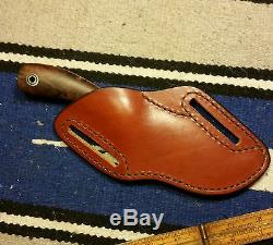 Fiddleback Forge Ironwood Hunting Skinner Knife Andy Roy Crossdraw Belt Sheath