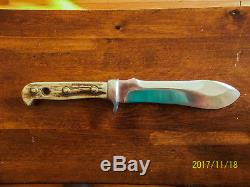 GERMANY- VINTAGE PUMA HUNTING KNIFE #6377 WHITE HUNTER Stag WITH SHEATH
