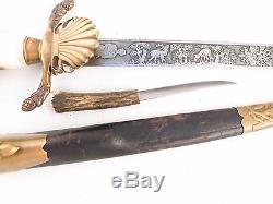 German Dagger Prussian Hunting Forestry Cutlass Sword + Skinning Knife NICE