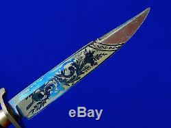 German Germany Antique 19 Century Hunting Engraved Blued Blade Knife with Scabbard