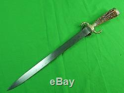 German Germany WW1 Engraved Hunting Dagger Knife Short Sword with Scabbard