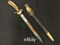German WWI-WWII Clam Shell Hunting Forestry Dagger Knife Sword Original Rare
