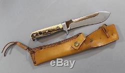 Germany PUMA 6375 White Hunter Hunting Knife with White Stag Handle & Sheath