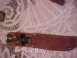 Gladstone Marbles vintage knife hunting withleather sheath