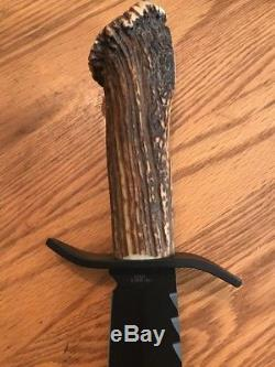 Hen & Rooster Black Blade Bowie Knife Hunting Fishing Deer Stag V44 Style