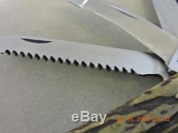 Hubertus 5 Blade German Rare Lockback Stag Multi Tool Knife Saw Corkscrew Hook