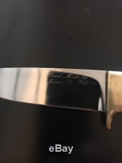 James. B. LILE Script Big 7 Hunting Knife-Stag-Sheath- Vintage
