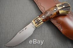 Jay Hendrickson, MS Stag Clip Point Hunting Knife, Curly Maple Silver Wire Inlay