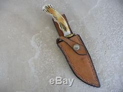 John Nelson Cooper 1 of a Kind Hunting/Skinning Knife Crown Stag WithOrig Sheath
