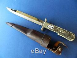 Large Hubertus Saufaenger 2 State German folding Knife Stag Handles 7.5 Blade