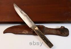Large VTG Solingen Germany Stag Handle Hunting Original Bowie Clip Point Knife