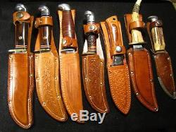 Lot of 7 VINTAGE Fixed Blade Knives Hunting Fishing Western Case Germany