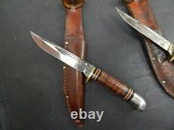 Lot of 7 vintage WESTERN Boulder HUNTING KNIVES withsheaths OLDER KNIFE COLLECTION