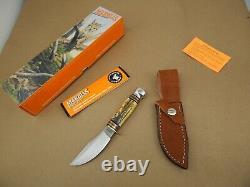 MARBLES USA Mini-Woodcraft HUNTING KNIFE Stag & Aluminum MINT in Box 2001