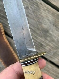 MORSETH THREE PIECE STAG EARLY 50s HUNTING KNIFE EVERETT WA