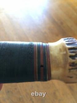 MSA CO. Vtg Gladstone Hunting WW1 Blade USA MARBLES Knife Stag Butt