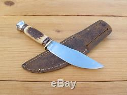 Marble's Woodcraft Hunting Knife Stag Vintage Patented 1916 Leather Sheath USA