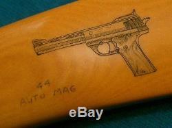 NM VINTAGE RW WILSON TOMAHAWK WV HUNTING KNIFE 44 AUTO MAG WILD BOAR SCRIMSHAW