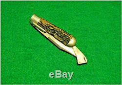 No Vtg Sheath 1 Pocket Blade MARBLES Safety Hunting Knife 1 Antld STAG Fold case