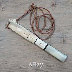OLD VINTAGE PUUKKO NECK KNIFE ANTLER HANDLE & SHEATH Antique Bushcraft Knives