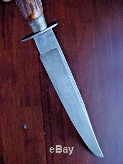 Old Custom Bowie 11 Blade Fighting Hunting Rifleman's Knife Gr8 Vintage Stag