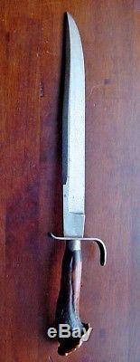 Old Custom Handmade Bowie Knife 11 Bl Vintage CROWN STAG Fighting Hunting MAREK