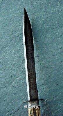 Old Hand Made Forged Bowie Style Hunting Knife Vintage A+ Stag Handle 7 Bl NR