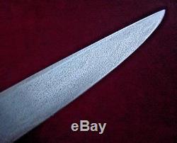 Old Handmade Custom Hunting Knife Antler Handle Steel Round Guard 9 Bl MAREK