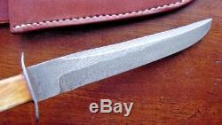 Old MAREK Handmade Hunting Knife Custom 4.75 Bl Vintage Amber Bone with SHEATH