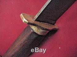 Old MAREK Maker BOWIE KNIFE 9 Blade Hand Filed Brass Mounts Wood Handle Hunting