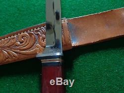 Old RARE c. 1930's-40's KINFOLKS RED Celluloid Handle Hunting Knife M-R330-4-1/2