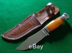 Old RARE c. 1930's-40's KINFOLKS Yellow Amber Handle Hunting Knife