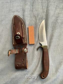 Olsen OK Knife with Brown Leather Case Inlcudes Knife Sharpener Skinner Hunting