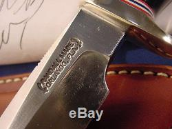 Original Randall Model 5 6 Camp Knife with Black Micarta Handle sheath stone