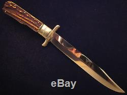 Pic Stag Folding Bowie Knife Solingen German Un-used Rare Old Hunting Knives
