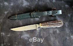 Puma #3591 Waidmesser Hunting Knife withStag & Saw, 1950s Germany