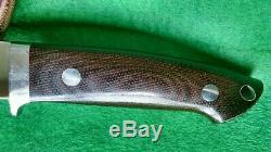 R. L. RL Bob Dozier Loveless Style Drop Point Hunter Knife Green Micarta w Sheath