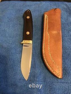 R. W. LOVELESS CUSTOM KNIFE MAKER DROP POINT HUNTER KNIFE-ENGRAVED-1980s UNUSED