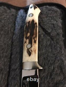 R. W. Loveless Custom Knife Maker Large Semi Skinner -double Nude-stag