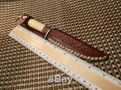 RARE 1931-'50 WESTERN PAT. NO USA White Handle P48A FIELD HUNTING KNIFE & CASE