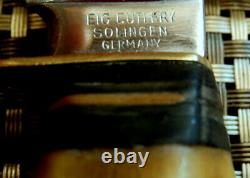 RARE 1950's STAG BONE SOLINGEN GERMANY VINTAGE 10.25 BOWIE HUNTING KNIFE & CASE