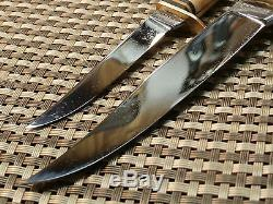RARE 1950s KNIFE SET SOLINGEN GERMANY HUNTING COMBO Vtg STAG BONE OTHELLO & CASE