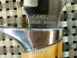 RARE 1970s CAMILLUS 1012 USA HANDMADE SWORD BRAND Vtg. STAG HUNTING KNIFE & CASE