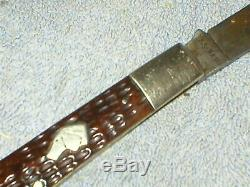 RARE Antique KA-BAR HOBO Knife Fork Combo Stag Handle union cutlery