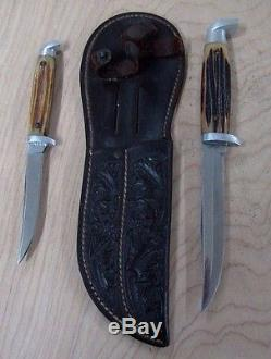 RARE FIND- Vintage Double / Twin / Buddy QUEEN Hunting Knives & Double Sheath