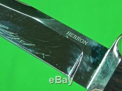 RARE US Custom Hand Made GEORGE HERRON Hunting Fighting Knife with Sheath