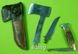 RARE Vintage 1932-40's US Case Tested XX Stag Hunting Knife Hatchet Combo Set